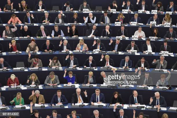 TOPSHOT Members of the European Parliament take part in a voting session at the European Parliament on March 14 2018 in Strasbourg eastern France /...
