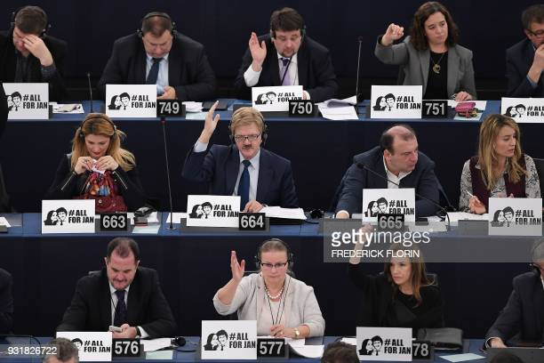 Members of the European Parliament take part in a voting session at the European Parliament on March 14 2018 in Strasbourg eastern France / AFP PHOTO...