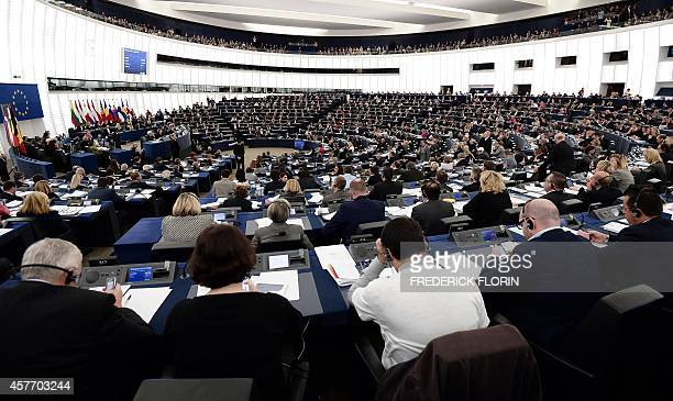 Members of the European Parliament take part in a voting session after the presentation of the team of 27 Commissionersdesignate and the future...
