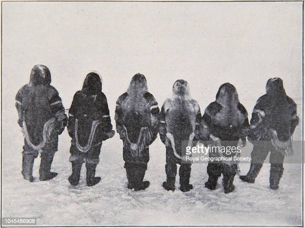 Members of the expedition back view Right to left Hansen Amundsen Wiik Lund Lindstrom H Hansen and Ristvedt Arctic Norwegian Northwest Passage...