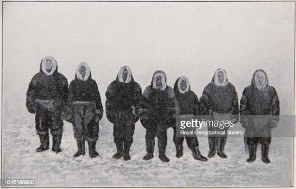 Members of the expedition front view Left to right Hansen Amundsen Wiik Lund Lindstrom H Hansen and Ristvedt Arctic Norwegian Northwest Passage...