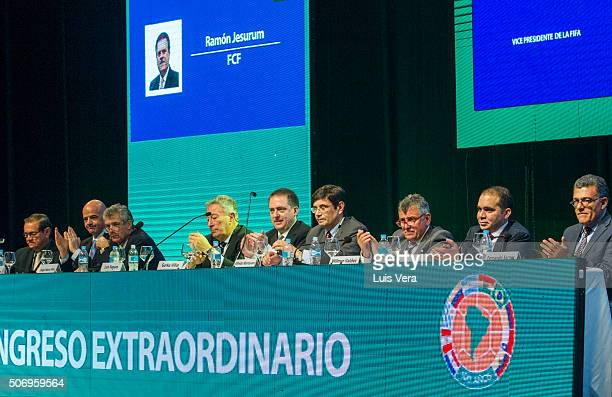 Members of the extraordinary Congress clap their hands during CONMEBOL Presidential Elections at CONMEBOL headquartes on January 26 2016 in Luque...