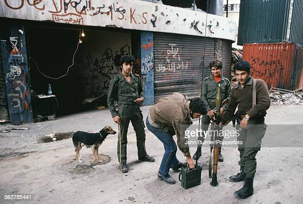 Members of the falangist militia with a rocketpropelled grenade launcher in northern Beirut Lebanon 1979