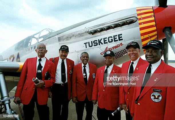 Members of the famed Tuskegee Airmen James Pryde William Broadwater Sam O'Dennis Freddie Robinson J Byron Morris and Charles Thompson stand infront...