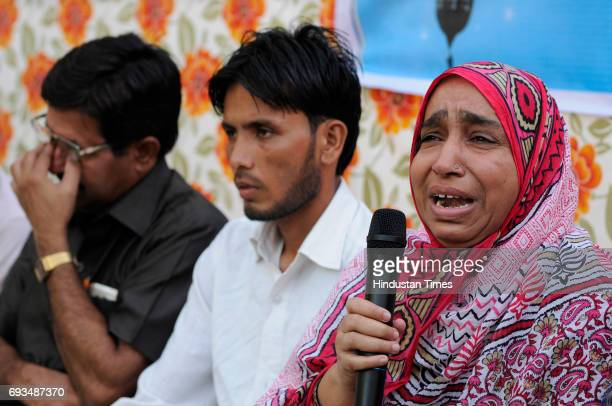 Members of the families of the Mob lynching victims during an Iftar gettogether at Students Islamic Organisation of India on June 7 2017 in New Delhi...