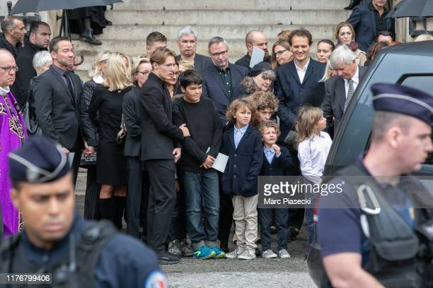 Members of the family attend Peter Lindbergh's funeral at Eglise Saint-Sulpice on September 24, 2019 in Paris, France.