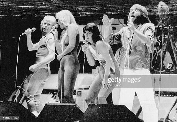 Members of the famous popular Swedish performing group ABBA on stage at Paramount Theater in Portland Oregon This was the first US and European tour...