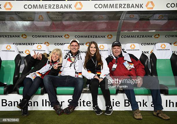 Members of the Fan Club of the German National football team sit on te trainer bank as the make a stadium tour prior to the International friendly...