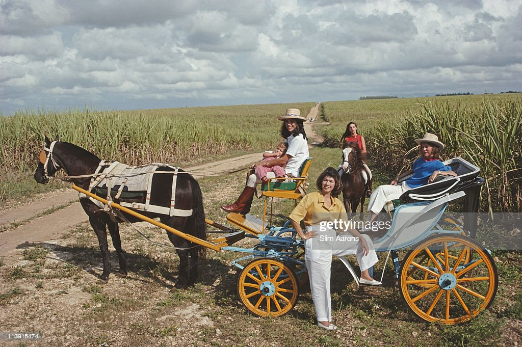 Members of the Fanjul family out for a ride on a horse and carriage, Casa de Campo, Dominican Republic, January 1990.