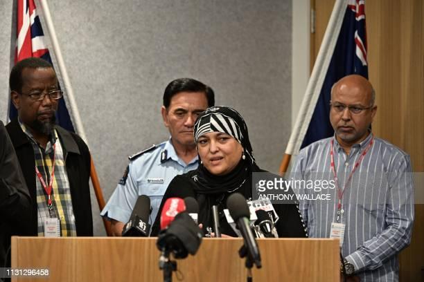 Members of the Federation of Islamic Associations of New Zealand Rehanna Ali Mustafa Farouk Anwar Ghani and police deputy commissioner Wally Haumaha...