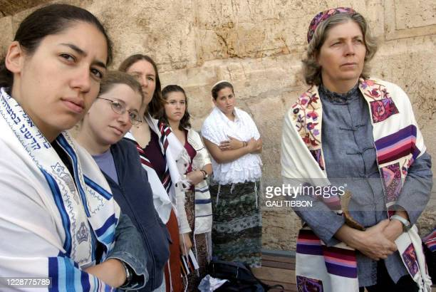 Members of the feminist Orthodox movement Women of the Wall gather at The Western Wall Judaism's holiest site in Jerusalem's Old City 18 August 2004...