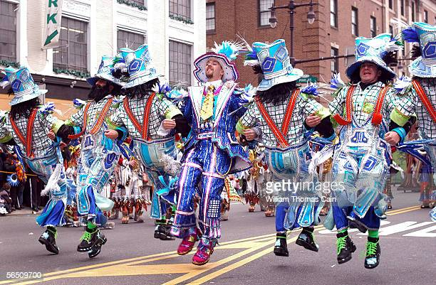 Members of the Ferko String Band perform as they march up Broad Street during the 105th Annual Mummers Parade January 1 2006 in Philadelphia...