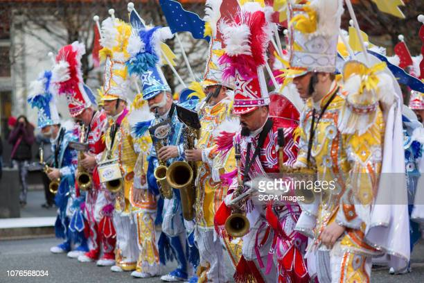Members of the Ferko String Band perform during the Philadelphia Mummers Parade Hundreds of performers comics and musicians gathered for the 118th...