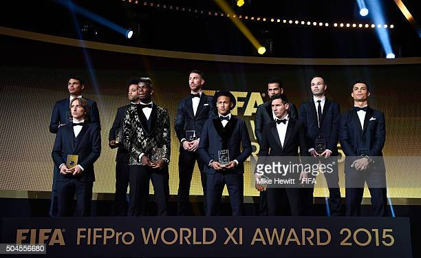 Members of the FIFA FIFPro World XI for 2015 stand on stage during the FIFA Ballon d'Or Gala 2015 at the Kongresshaus on January 11, 2016 in Zurich,...