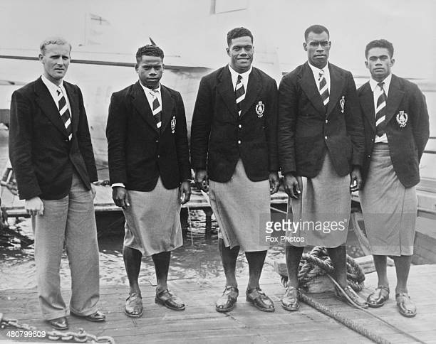 Members of the Fijian team on their arrival in Auckland for the British Empire Games New Zealand 19th January 1950 Left to right manager HM McMillan...
