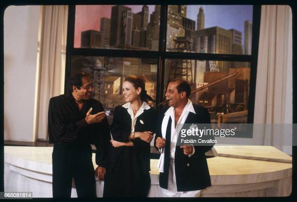 Members of the film Joan Lui are left to right Adriano Celentano Marthe Keller and Federico Boido