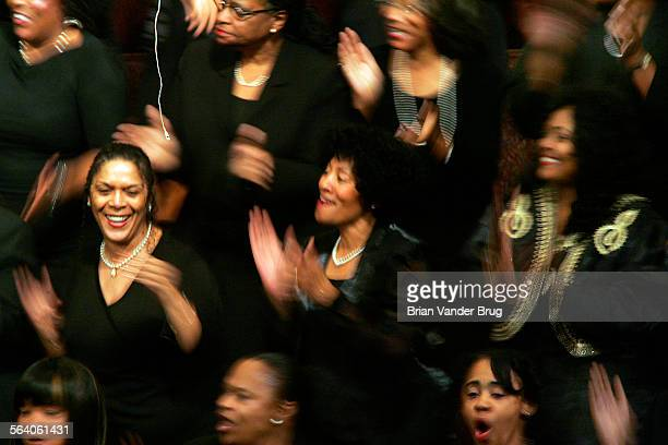 Members of the First AME Church Freedom Mass Choir sing during memorial service for civil rights pioneer Rosa Parks at First AME Church in Los...