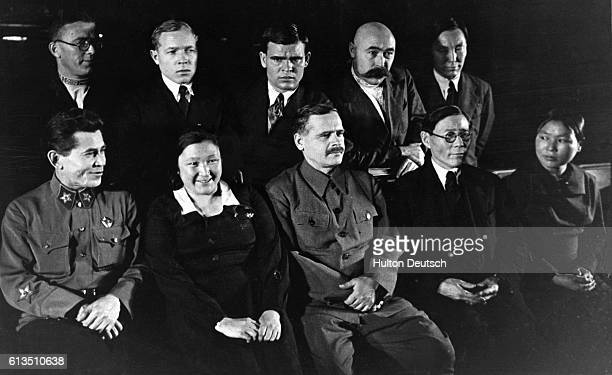 Members of the First Session of the Supreme Soviet N Yezhov are and A Andreev among a group of deputies from the Yakut USSR in 1938