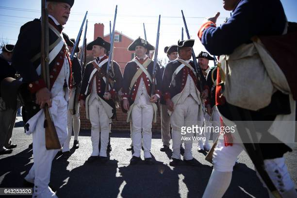 Members of the First Virginia Regiment a Revolutionary War living history reenactment group participate in the annual George Washington Birthday...