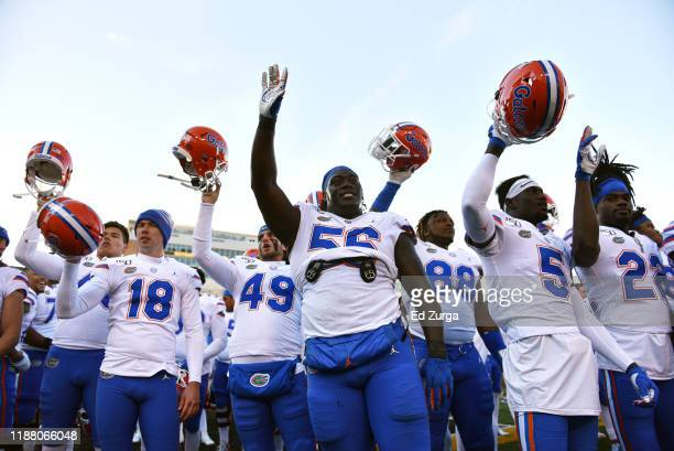 Members of the Florida Gators celebrate a 23-6 win over the Missouri Tigers in the fourth quarter at Faurot Field/Memorial Stadium on November 16,...