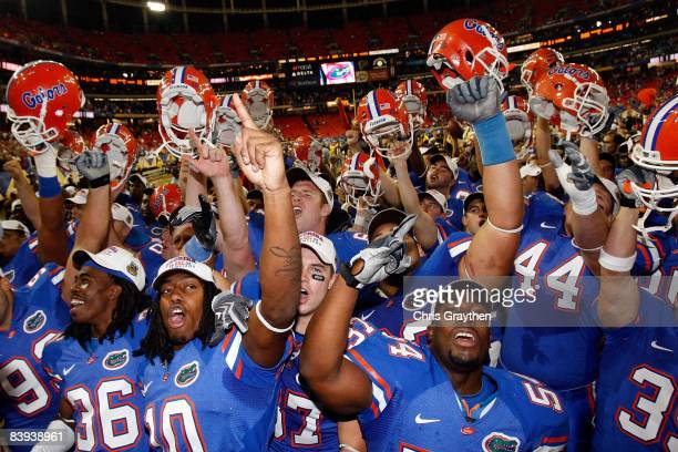 Members of the Florida Gators celebrate their 3120 win over the Alabama Crimson Tide to win the SEC Championship on December 6 2008 at the Georgia...
