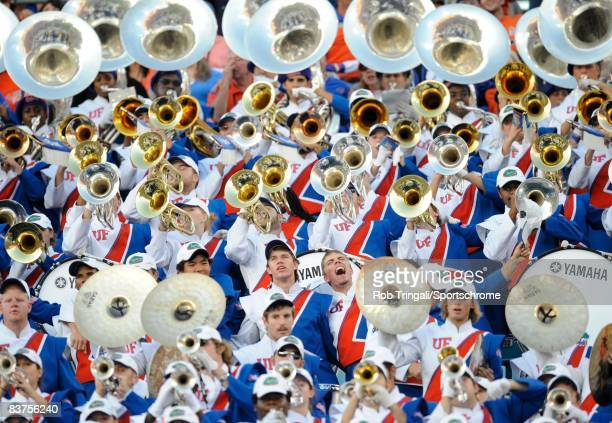 Members of the Florida Gators marching band perform against the Georgia Bulldogs at Jacksonville Municipal Stadium on November 1, 2008 in...