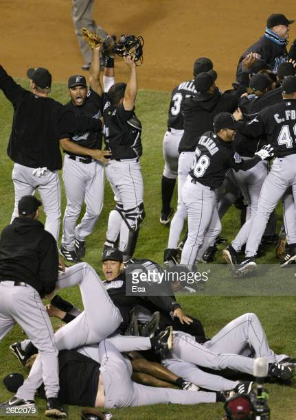Members of the Florida Marlins celebrate their 96 win over the Chicago Cubs during game seven of the National League Championship Series October 15...