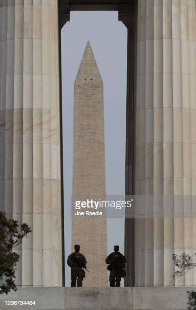 Members of the Florida National Guard patrol at the Lincoln Memorial on January 16, 2021 in Washington, DC. After last week's riots at the U.S....