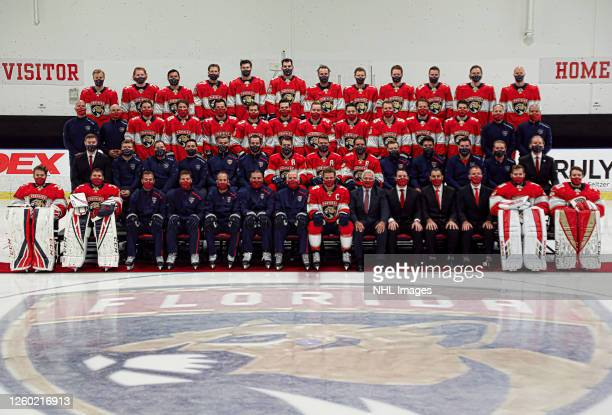 Members of the Florida Panthers pose for the official 2019-2020 team photograph at the Florida Panthers Ice Den and Training Facility on July 25,...