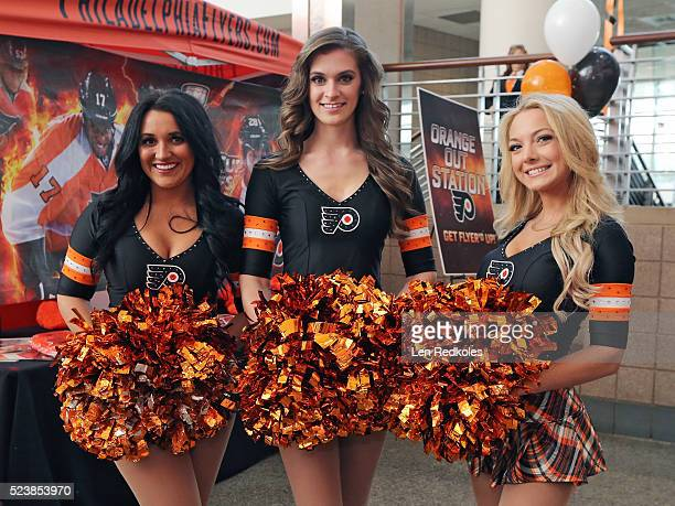 Members of the Flyer ice girls pose for a photo prior to Game Three of the Eastern Conference First Round during the 2016 NHL Stanley Cup Playoffs...