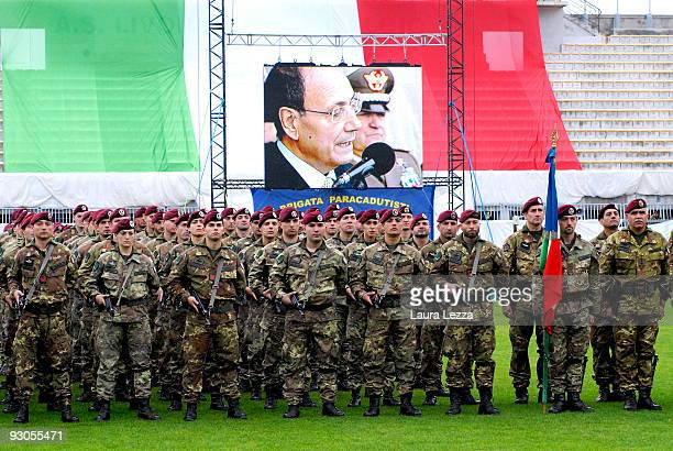 Members of the Folgore Parachute Brigade attend a ceremony to mark the 67th anniversary of The Battle of El Alamein at Stadio Armando Picchi on...