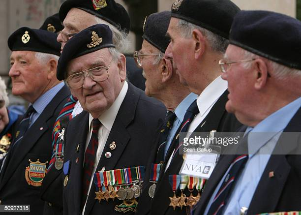 Members of the Folkstone branch of the Normandy Veterans Association a British organization of World War II veterans who participated in the DDay...