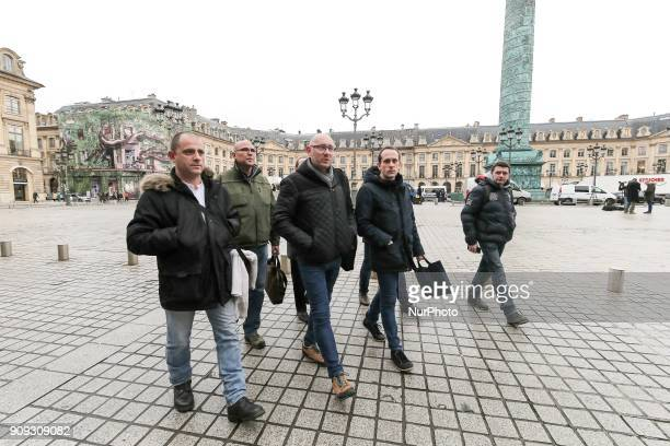 Members of the Force Ouvriere penitentiary union arrive for a meeting with the French Justice minister on January 23 2018 at the Justice ministry...