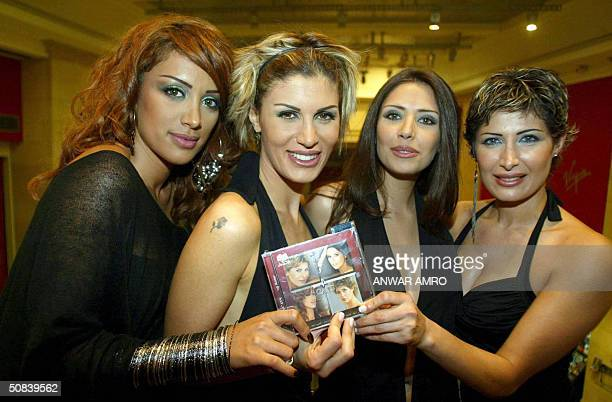 Members of the 'Four Cats' group of Lebanon Maya Diab Joyce Asmar Dalida Shammai and Raya Shammai pose with their newly released CD titled 'Antar'...