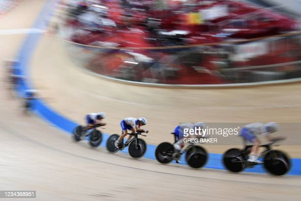 Members of the France team take part in a cycling track training session during the Tokyo 2020 Olympic Games at Izu Velodrome in Izu on August 1,...