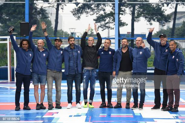 Members of the France's 1998 World Cup's French football national team Christian Karembeu Fabien Barthez Lionel Charbonnier Robert Pires Zinedine...