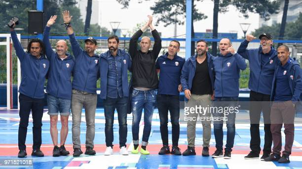 TOPSHOT Members of the France's 1998 World Cup's French football national team Christian Karembeu Fabien Barthez Lionel Charbonnier Robert Pires...