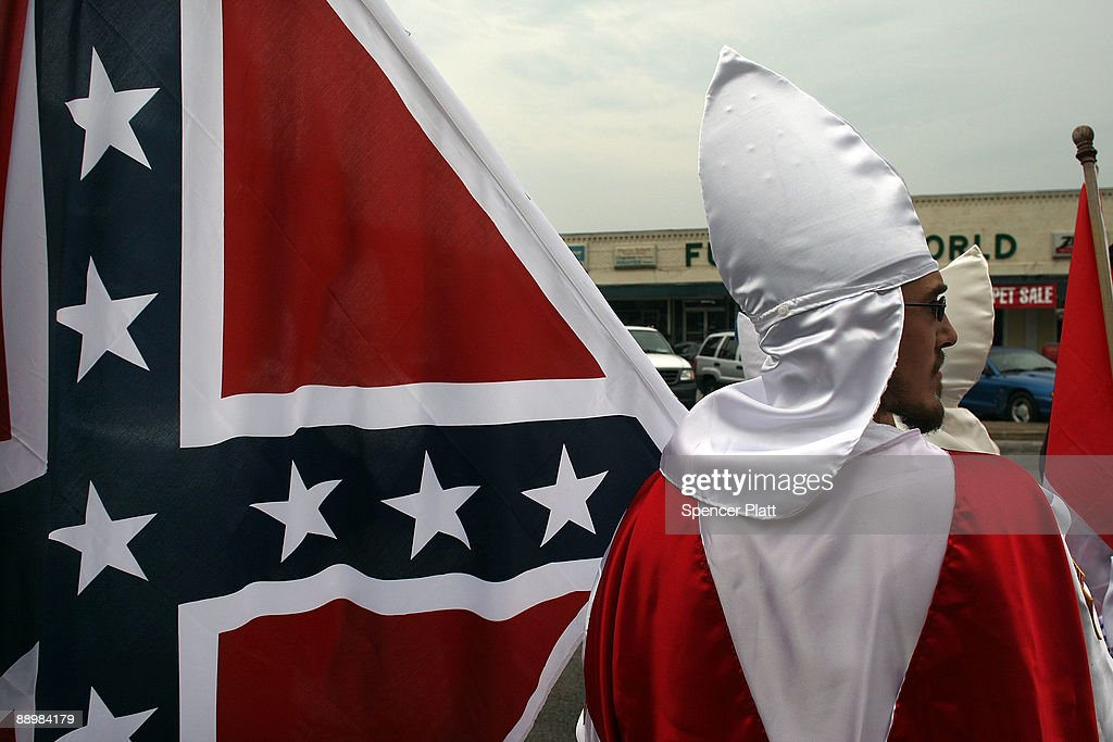Members of the Fraternal White Knights of the Ku Klux Klan participate in the 11th Annual Nathan Bedford Forrest Birthday march July 11, 2009 in Pulaski, Tennessee. With a poor economy and the first African-American president in office, there has been a rise in extremist activity in many parts of America. According to the Southern Poverty Law Center in 2008 the number of hate groups rose to 926, up 4 percent from 2007, and 54 percent since 2000. Nathan Bedford Forrest was a lieutenant general in the Confederate Army during the American Civil War and played a role in the postwar establishment of the first Ku Klux Klan organization opposing the reconstruction era in the South.