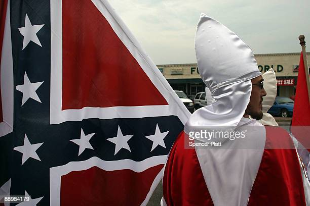 Members of the Fraternal White Knights of the Ku Klux Klan participate in the 11th Annual Nathan Bedford Forrest Birthday march July 11, 2009 in...