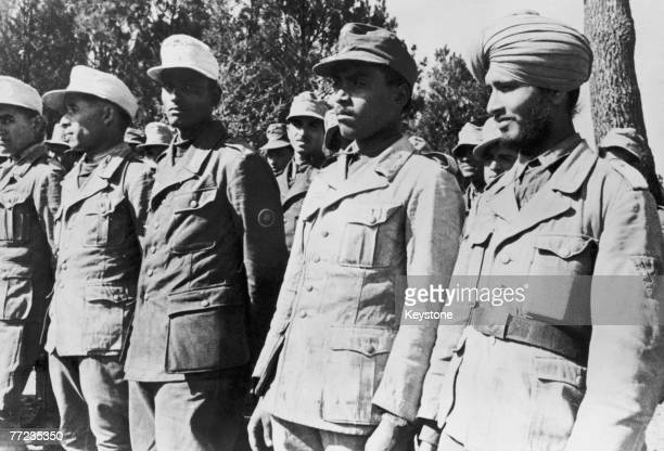 Members of the Free India Legion an Indian armed unit attached to the German Wehrmacht during training for duties on the Atlantic Wall circa 1943 The...
