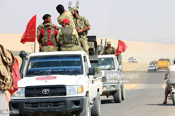 Members of the Free Syrian Army enter to AlKusa village after taking control of the village from PYD/ PKK terrorist organizations during the...