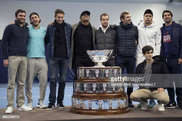 Members of the French Davis Cup team Gilles Simon Lucas Pouille Nicolas Mahut captain Yannick Noah Richard Gasquet Julien Benneteau JoWilfried Tsonga...