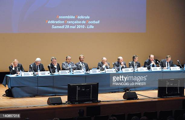 Members of the French Football Federation board take part in a meeting of the FFF's federal assembly in the French northern city of Lille on May 29...