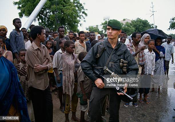 Members of the French Foreign Legion join the 28000 United States Marines sent during Operation Restore Hope to protect relief workers whose job was...