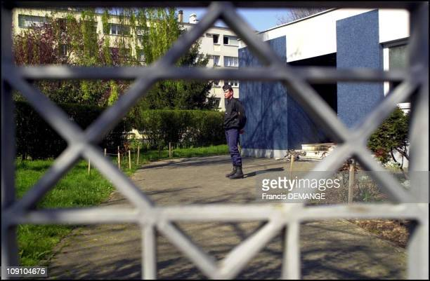 Members Of The French 'Gendarmerie' Police Force Stay On Guard Near The Synagogue Of Strasbourg Was Desacrated In The Night Of March 30 On February...