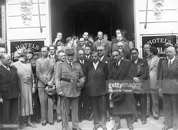 Members Of The French Government Posing In Front Of The Hotel Du Parc In Vichy Between 1942 And 1944 The Marshal'S Wife Eugenie Petain Born Hardon...