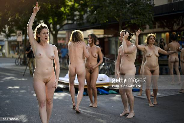 Members of the French group 'The Collective Body' perform during the 'Body and Freedom Festival' which bills itself as the world's first ever...