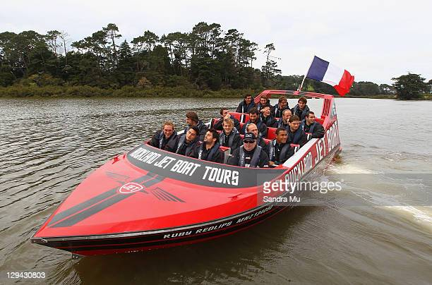 Members of the French IRB Rugby World Cup 2011 squad enjoy jet boating in Auckland's harbour on their day off at the Riverhead Tavern on October 17,...