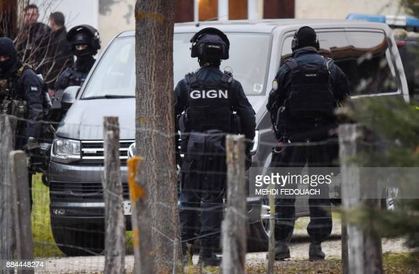 Members of the French National Gendarmerie Intervention Group medical staff prepare on December 2 2017 in Auros western France to intervene in a...