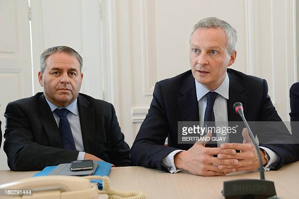 Members of the French parliament, former French minister Xavier Bertrand and former Agriculture minister Bruno Le Maire attend a press conference at...